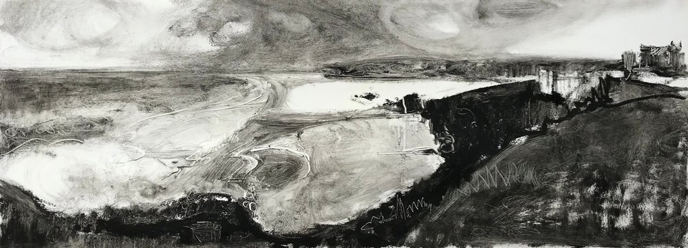 Liane STEVENSON, Perranporth, Black oil stick on varnished paper, 29 cm x 78 cm,  http://Lianestevenson.theartistsweb.co.uk