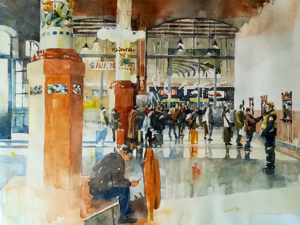 Francesco Fontana, Leaving Valencia, watercolor, 36 x 46,  http://www.francescofontana.com