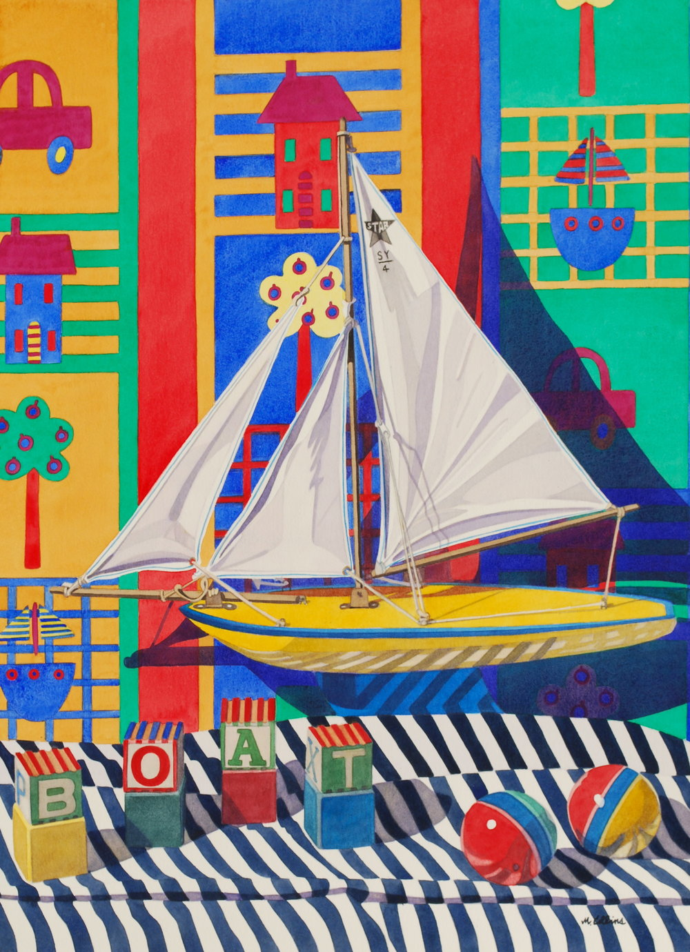 Marjorie Collins, Boats, Blocks and Balls, Watercolour, 97 x 75 x 2,  http://marjoriecollins.com