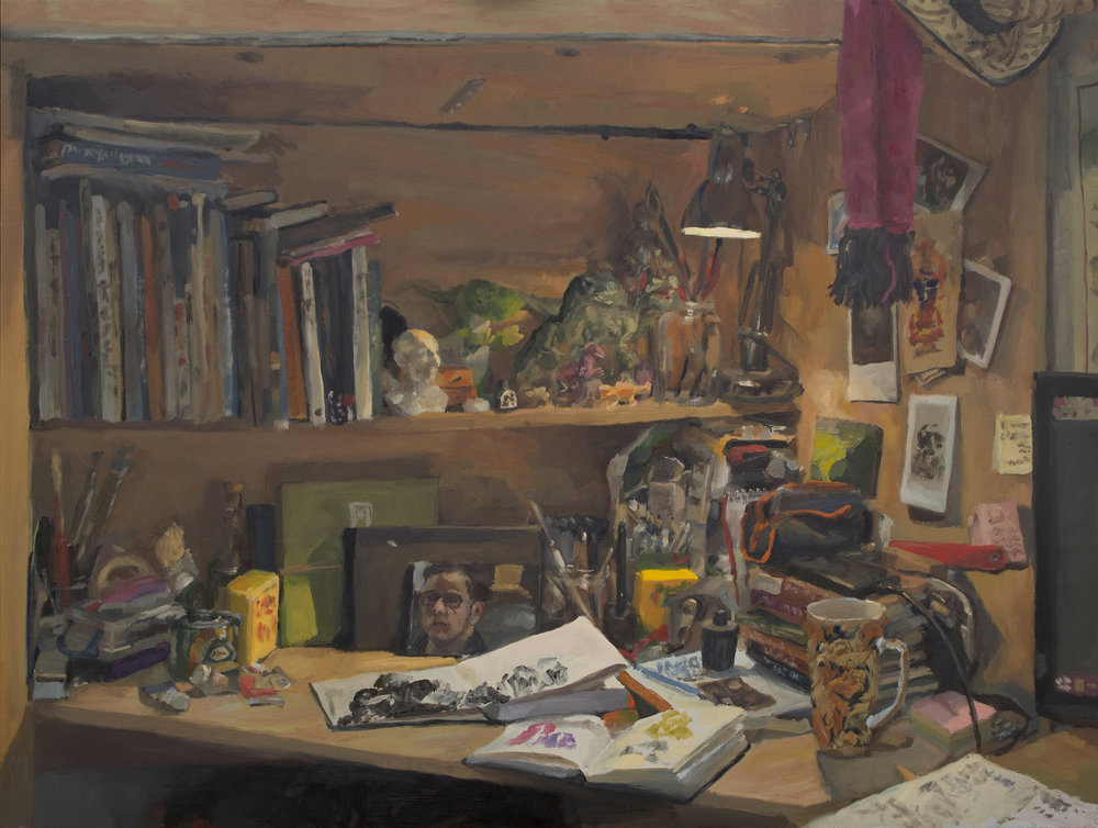 Lancelot Richardson, Messy Desk, Oil on board, 45.8x 61.0 x 0.8,  http://lancelotrichardson.com
