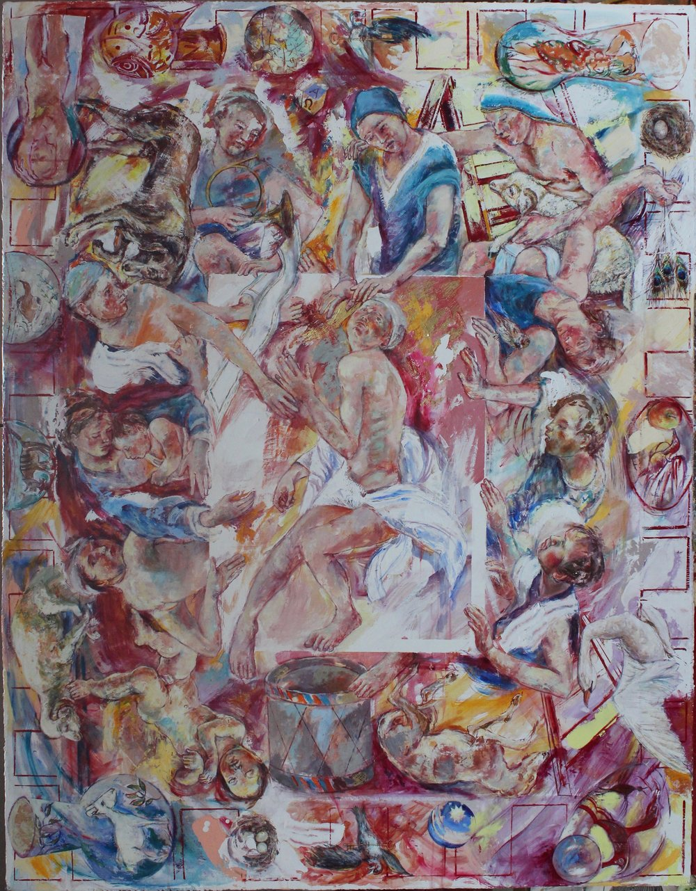 Kate Rose, The Good Friends, Acrylic Gesso and Gold Leaf on panel, 158 cm X 122.5cm X 1cm