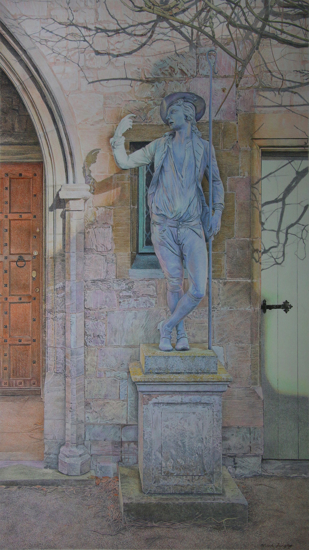 MARK LANGLEY, Shepherd's Temptation, Colour pencil, 30 x 54 cm
