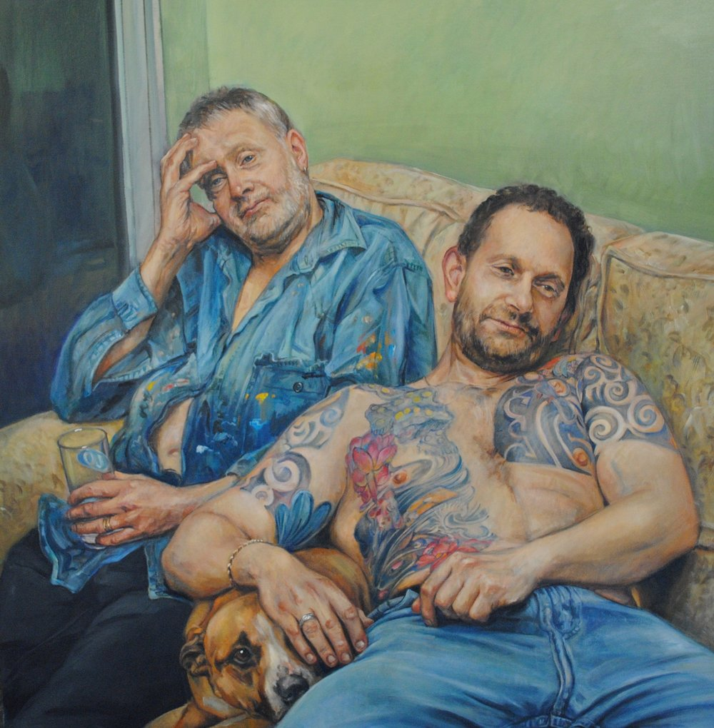 Jane Allison, John and Robert with Nellie, oil paint on canvas, 100cm x 90cm x 2cm,  http://www.janeallisonportraits.co.uk