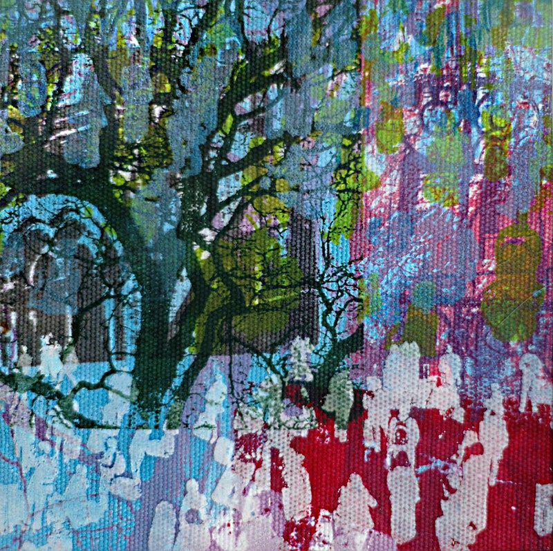 Diane Rafferty, Sunday Morning, Silk Screen print, 12cms x 12cms