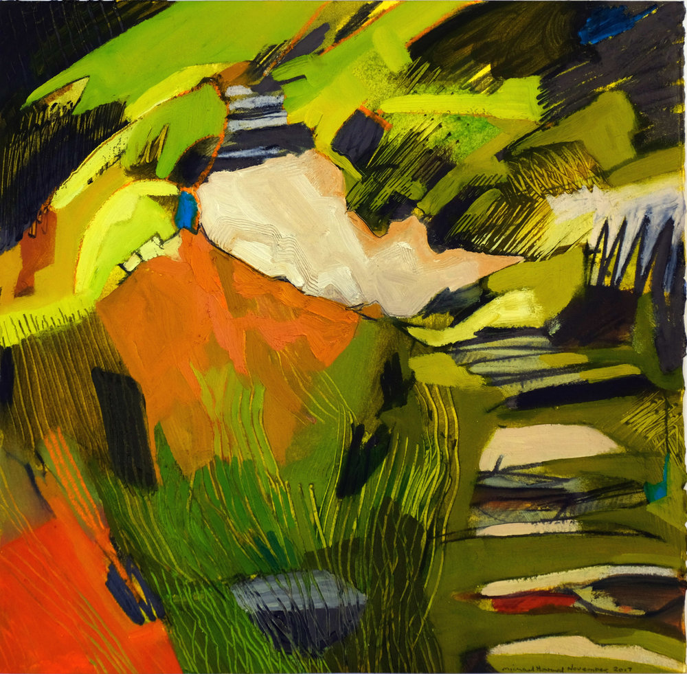 Michael Howard, Path to Allt Forgan, Oil and Graphite on Arches Huile, 40.5cm x 40cm,  http://www.michaelhowardartist.com