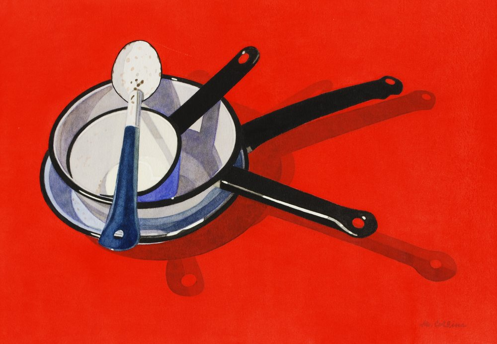 Marjorie Collins, Pots and Pan on Red, Watercolour, 57 x 73 x 2 cm,  http://marjoriecollins.com