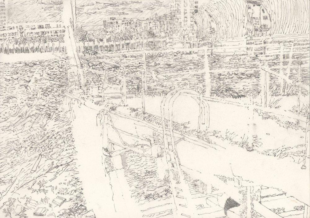 Alexandra Blum, Retreat, Graphite on paper, 21cm x 29.7 cm x 0.1cm,  http://www.alexblum.co.uk
