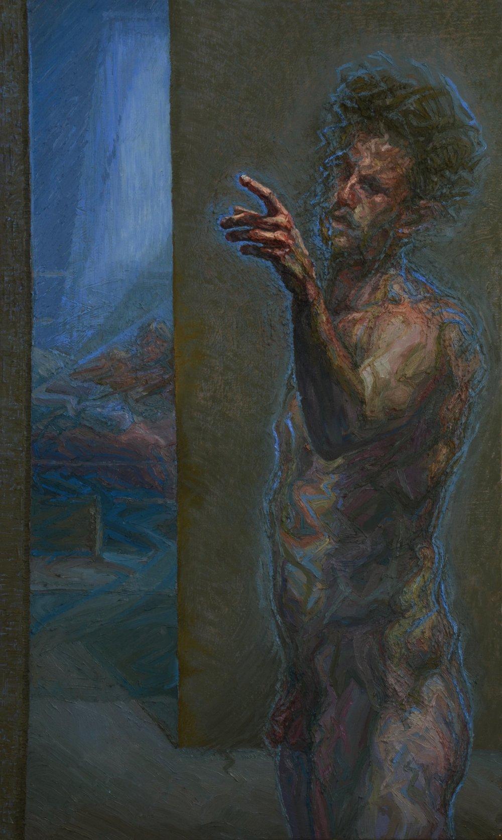 Charlie Schaffer, Self-Portrait in Margate, oi on canvas, 115 x 70 cm,  http://www.charlieschaffer.com