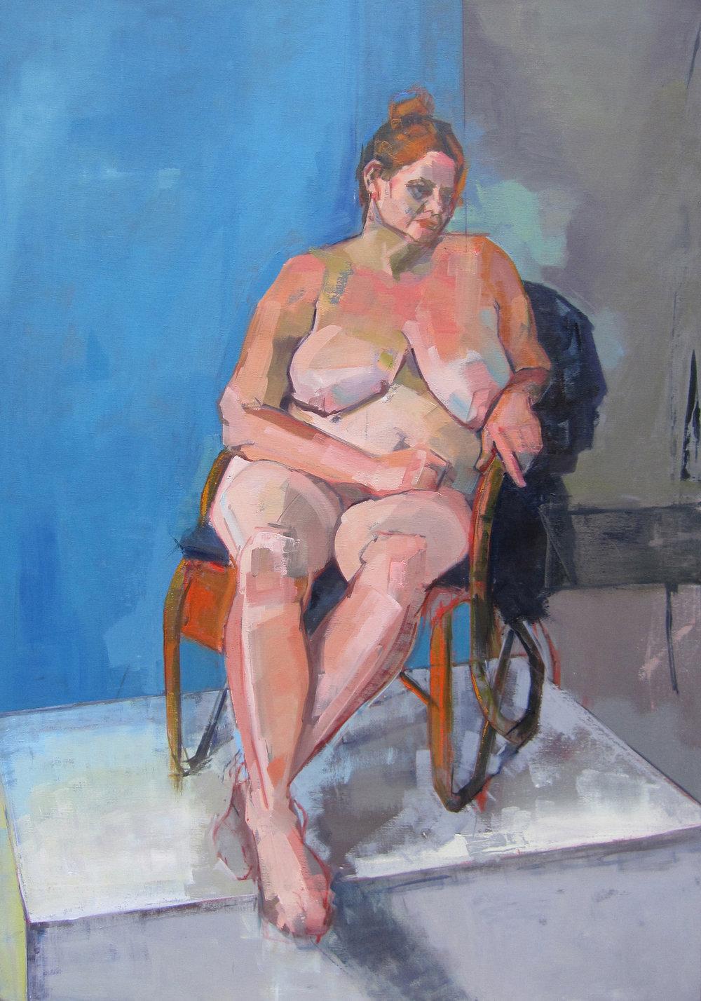 Eve Pettitt, Seated Nude, Oil on canvas, 100 x 70 x 4 cm,  http://evepettitt.co.uk