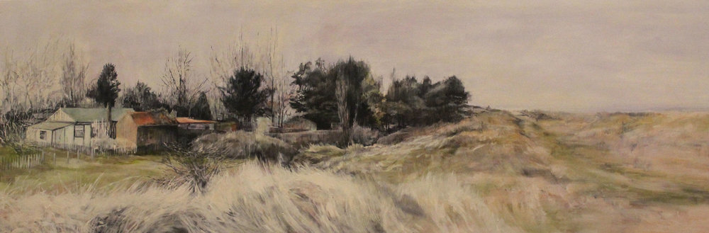 "Judith Tucker, No Through Road, Oil on Canvas, 24"" x 72"",  http://www.projectfitties.com/"