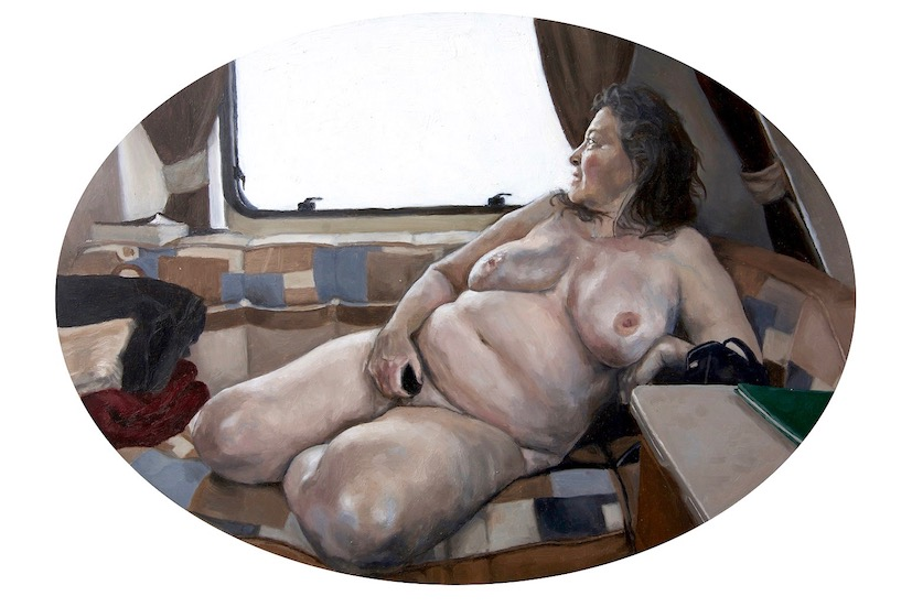 Alicia France, Nude in Caravan, Oil on Aluminium, 40 cm x 32 cm x 0.3 cm