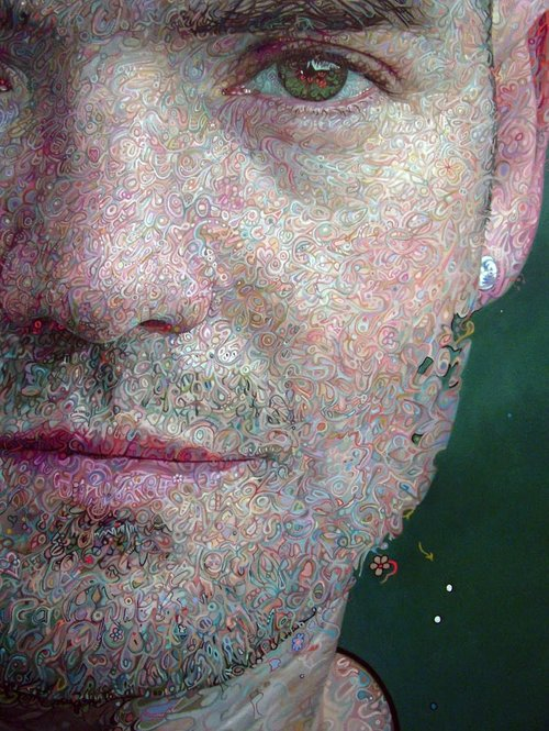Self Portrait (detail), Mark Roscoe, Oil on canvas, 72″ x 50″