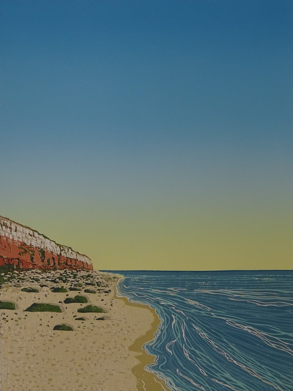 Drawing and Printmaking Prize Winner (£200 Jackson's Art Gift Voucher): 'New day Hunstanton beach' by Margaret Mallows.  Read more about the artwork.