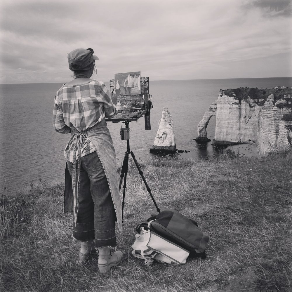 Painting en plein air at Etretat, France 2017