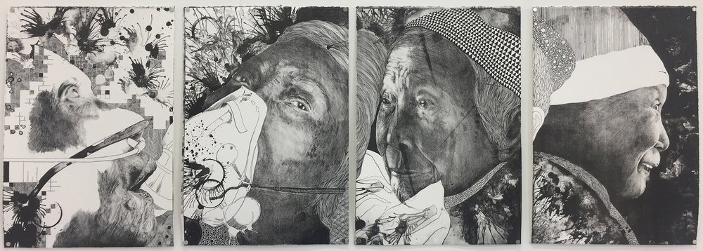 Wai Wong , 'Grandma - Last 4 Stages', Stone Lithography, 155 x 55 cm