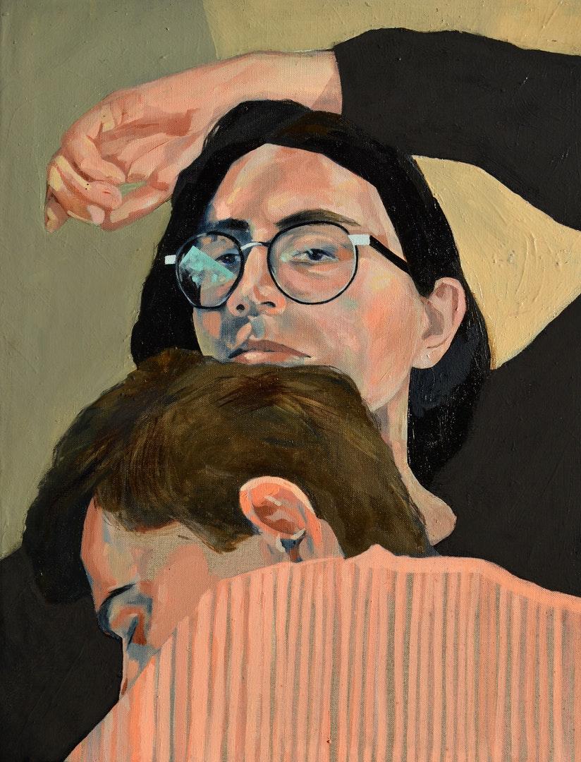 Lovisa Axellie , 'He always falls asleep on top of me / Self portrait with Olof sleeping', Oil on Linen, 60 x 80 cm