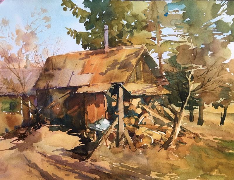 Marina Orlyuk, 'Old House', Watercolour on Paper, 30 x 40 cm