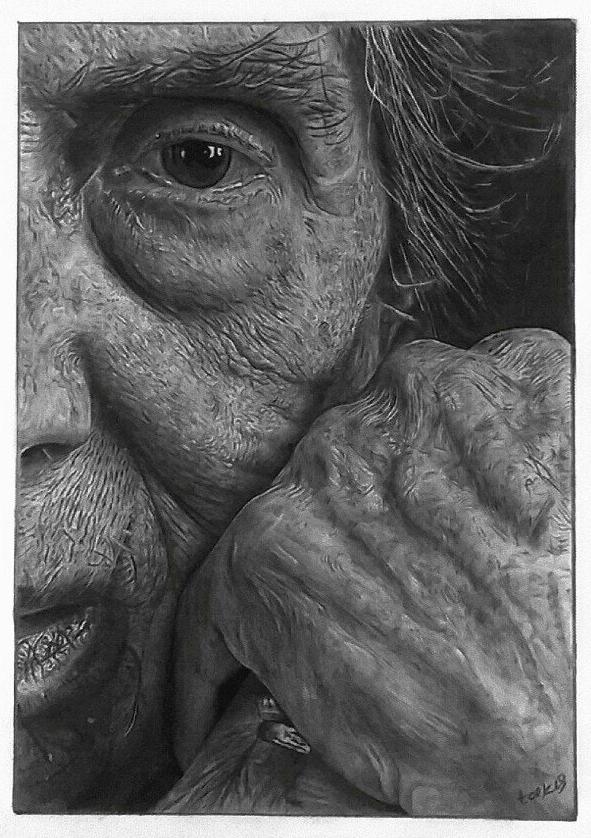 Takis Tsekouras , 'Old Woman', Pencil & Charcoal on Paper, 37 x 27.5 cm
