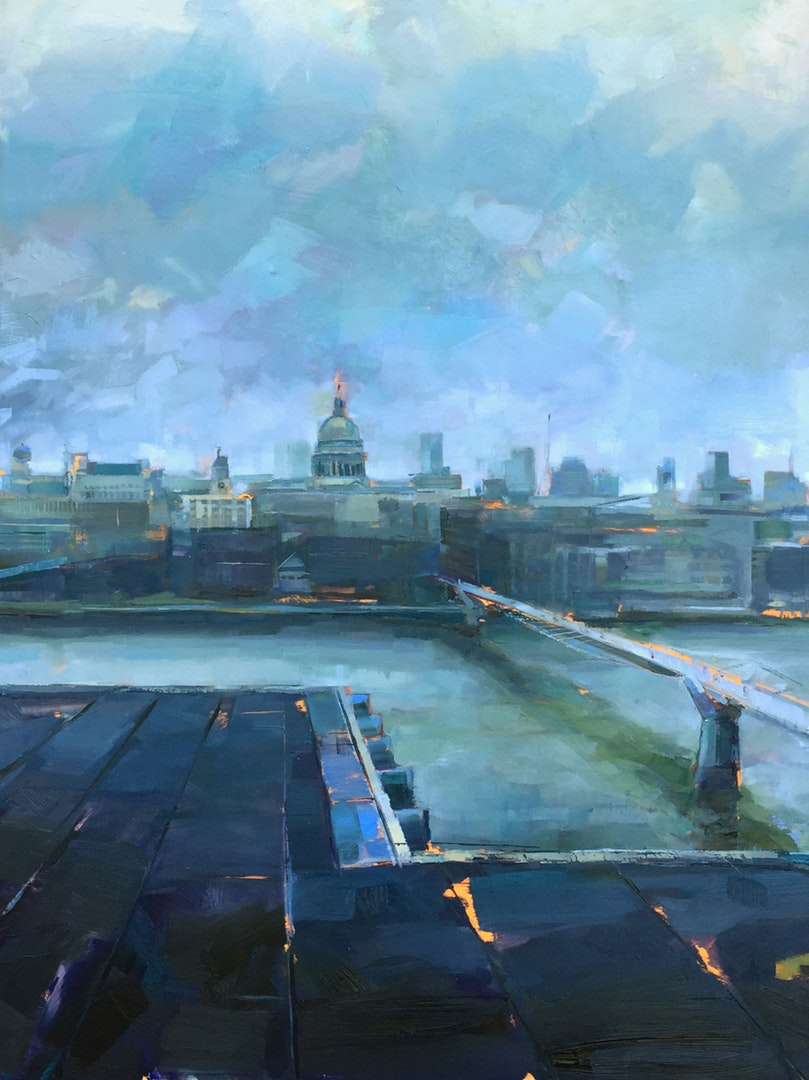 Jonathan Hargreaves , 'London, December', Oil on Board, 102 x 92 cm