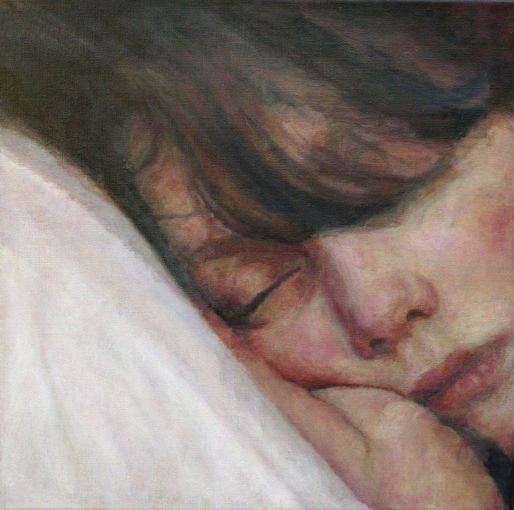 Adele Chapman  Louise Asleep  Acrylic on canvas, 30 x 30 cm   http://adelechapman.ie