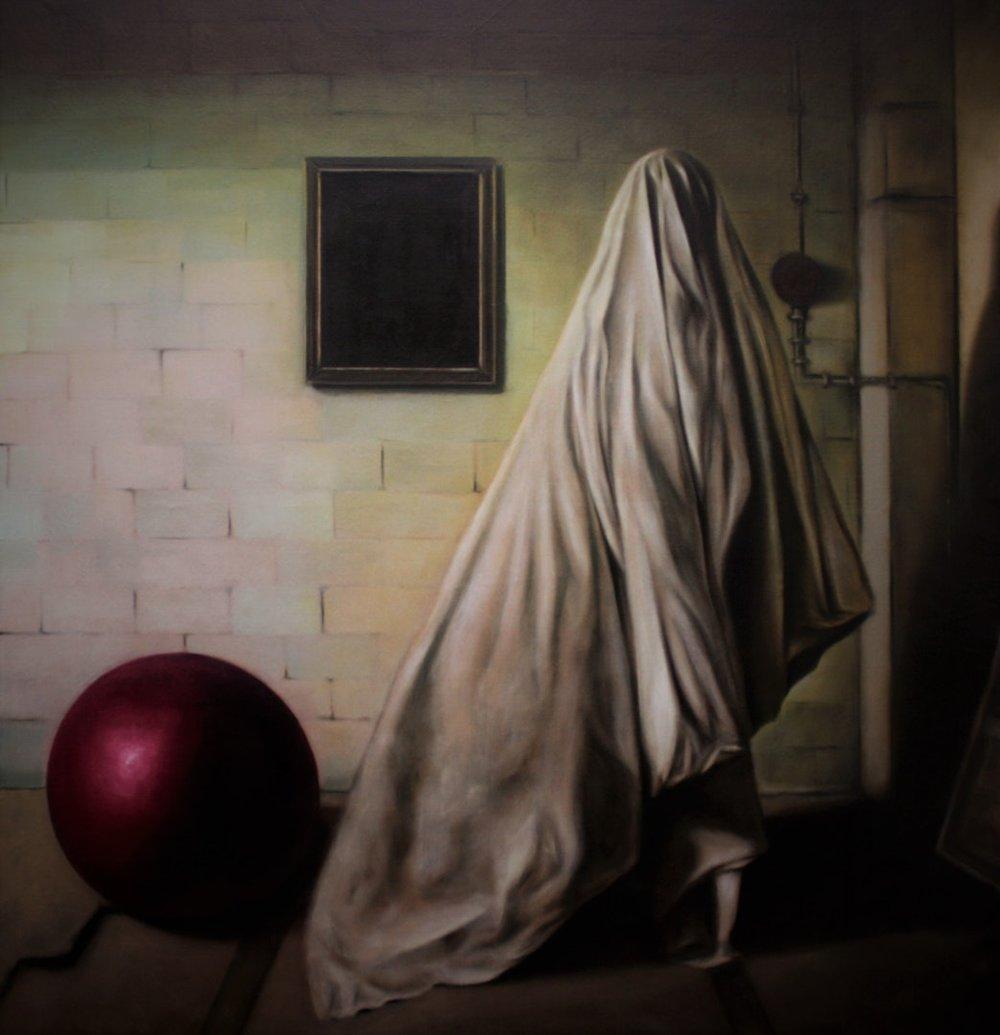 Adrian Penu  The Dark Side of the Room  Oil on linen, 160 x 140 x 5 cm  http://adrianpenu.com