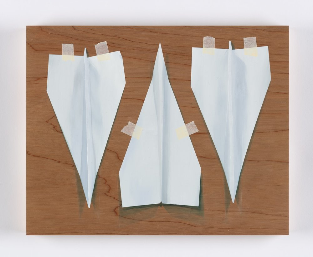 Alastair Gordon  Three Paper Darts  Oil on marine ply, 40 x 50 cm  http://www.alastairjohngordon.com