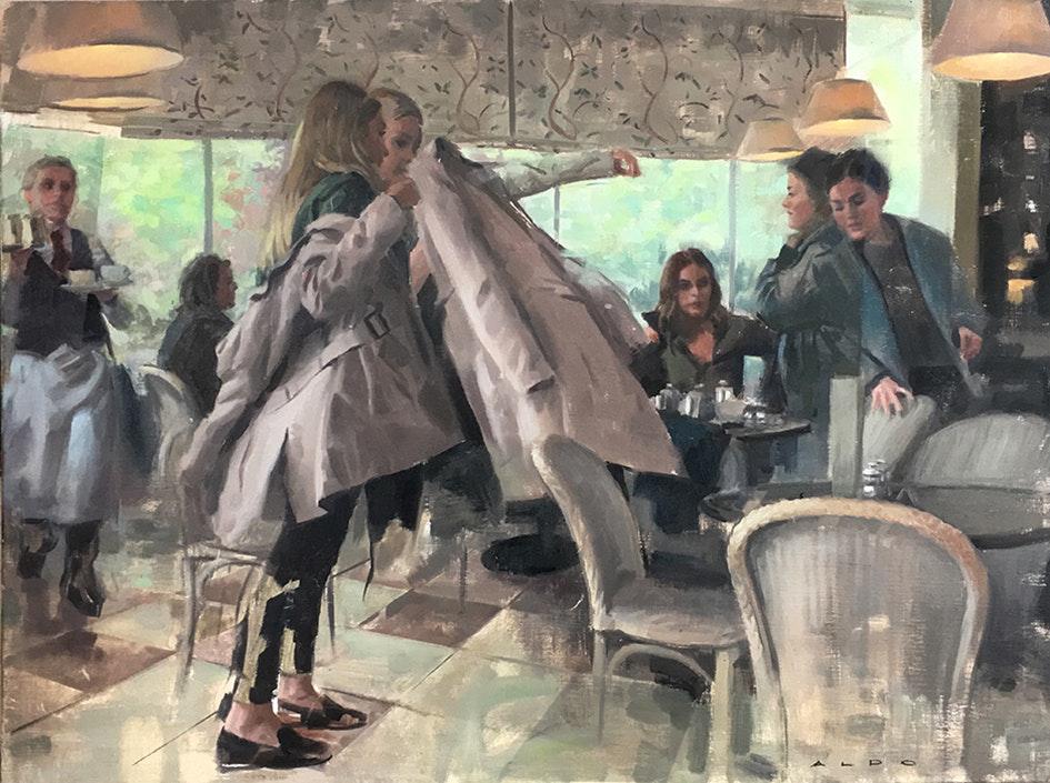 Aldo Balding  The fabric of spacetime in a tea room  Oil, 60 x 89 cm  http://www.aldobalding.com
