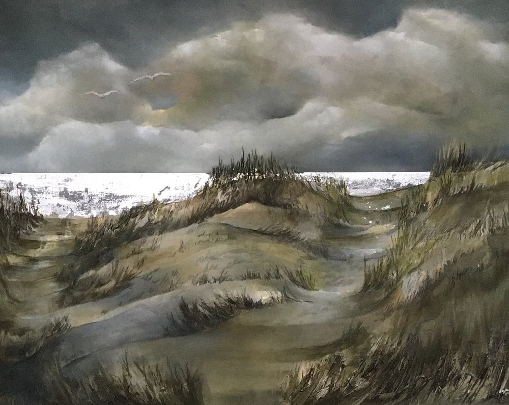 Alex Howell  Over the Dunes  Oil and silver leaf on canvas,  76  x 60.5 x 2 cm  http://www.alexhowellart.com