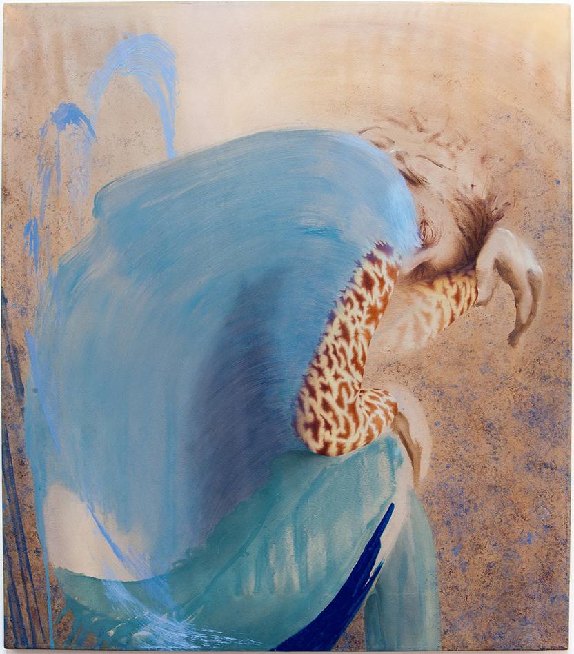 Alex Roberts  10Uhr 11B nach London I  Pigment, oil, pastel pencil on silk, 80 x 70 cm  https://www.alexroberts.com/