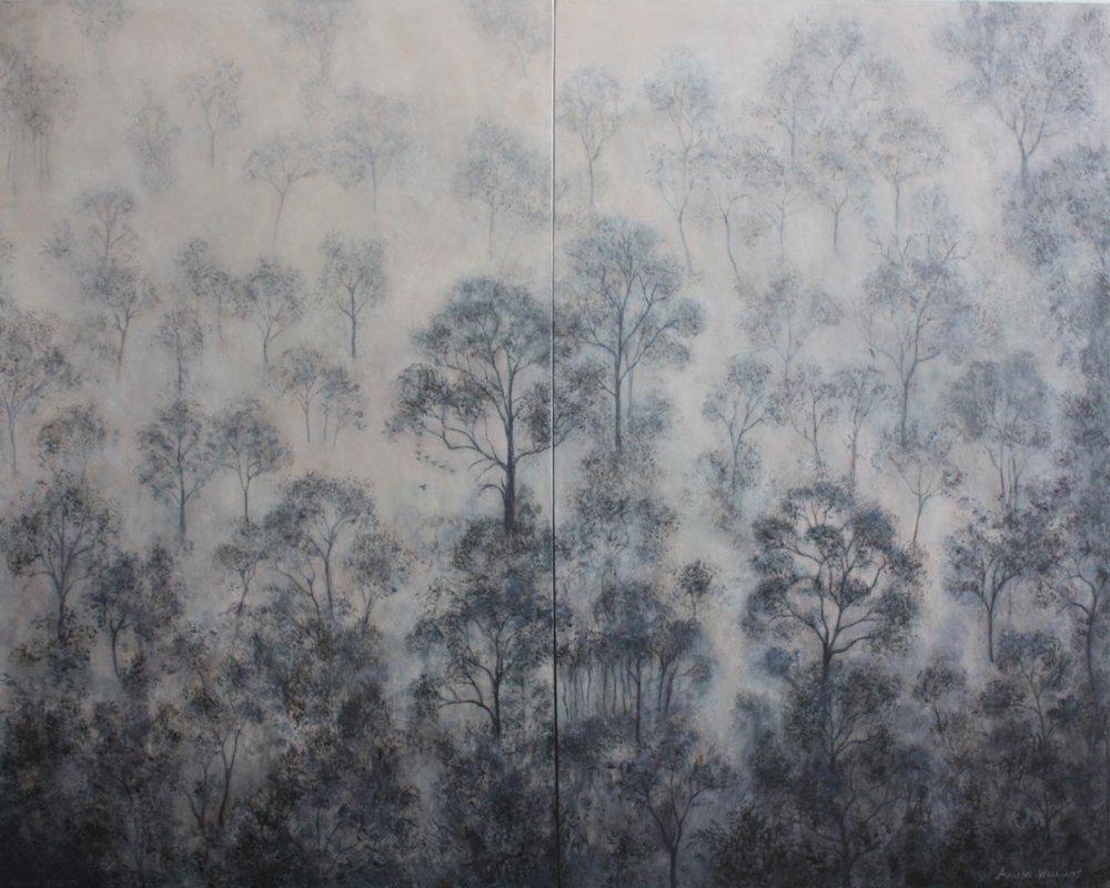 Arlene Williams  Cathedral Forest (Diptych)  Acrylic, 122 x 152 x 2 cm  https://arlenewilliams.myportfolio.com/