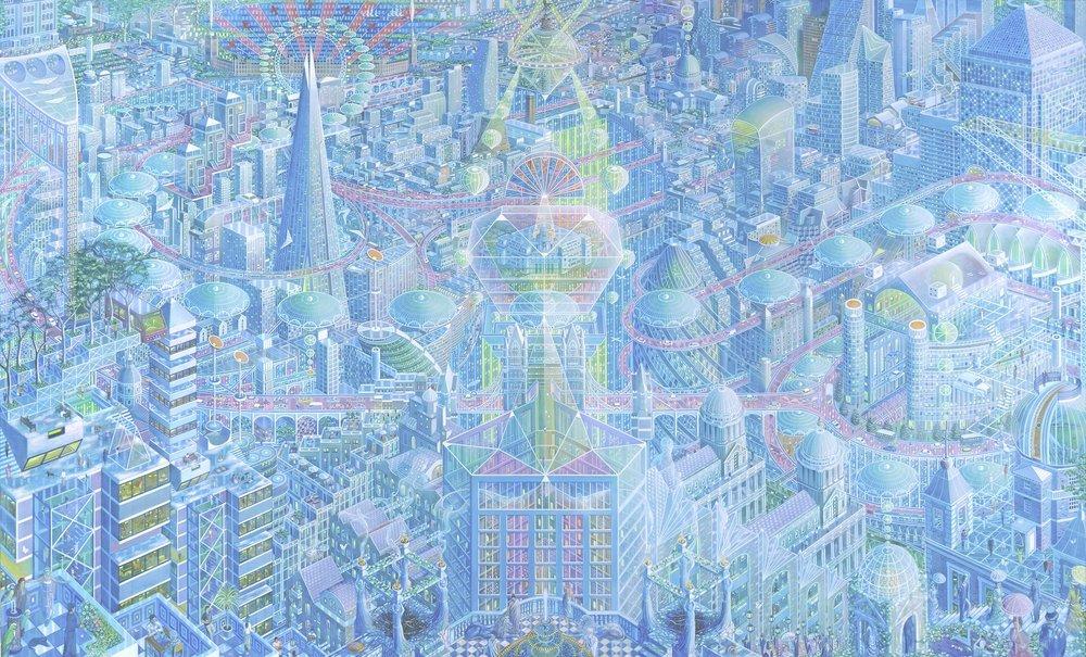 Caio Locke  Metropolis London  Acrylic on canvas, 155 x 255 x 5 cm  http://www.caiolocke.com