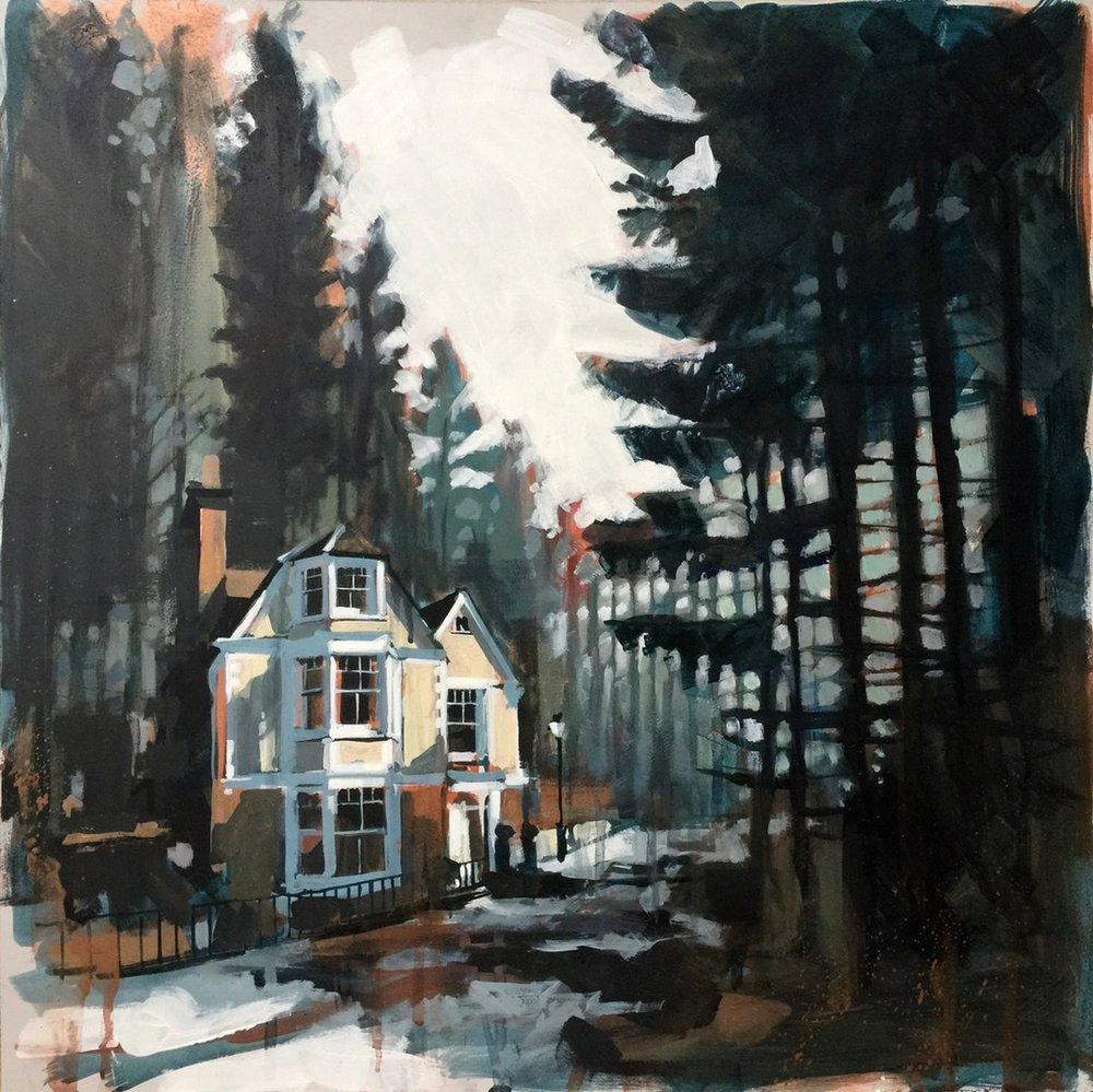 Camilla Dowse  Wildwood  Acrylic on panel, 50 x 50 x 0.5 cm  http://www.camilladowse.co.uk