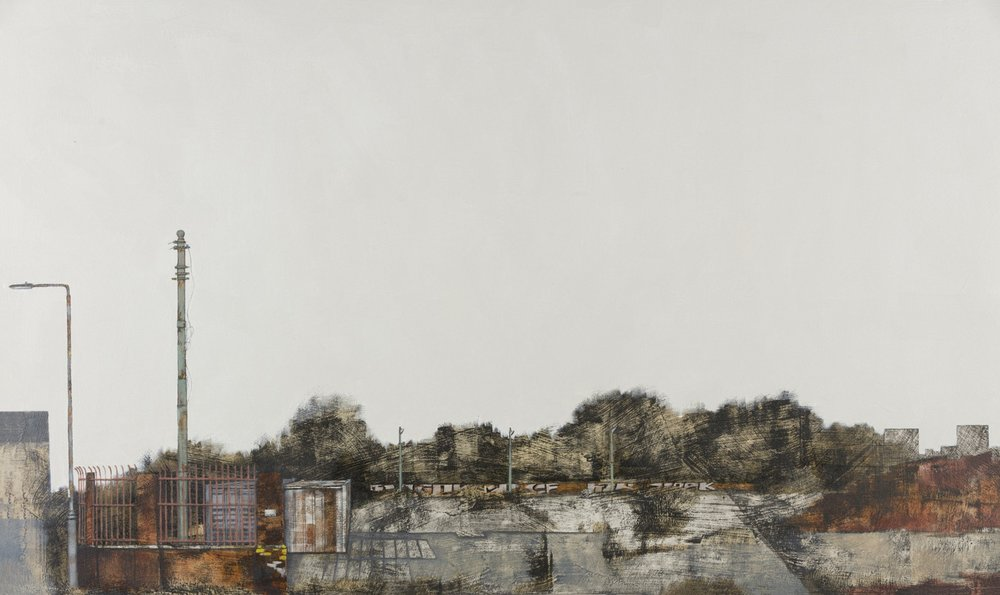 Cate Inglis  Levelled (Terminus II)  Oil & monoprint on board, 49 x 81 x 4 cm  http://www.cateinglis.co.uk