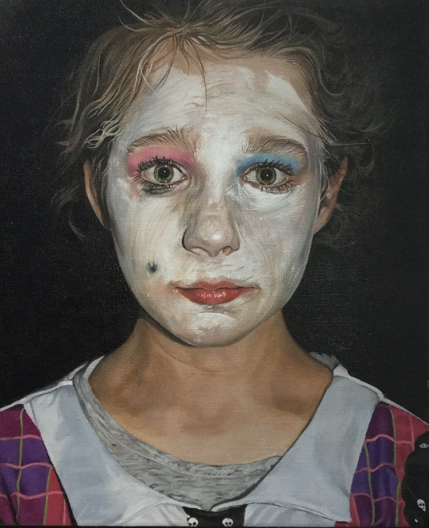 Catherine Macdiarmid  Behind the Doll Face  Oil on canvas, 30 x 25 x 4 cm  http://catherinemacdiarmid.co.uk