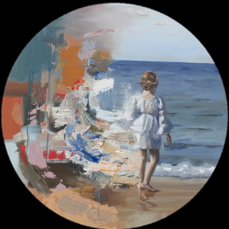 Chantal AuCoin  Sea of possibilities  Oil on canvas, 61 cm dia  http://www.chantalaucoin.com