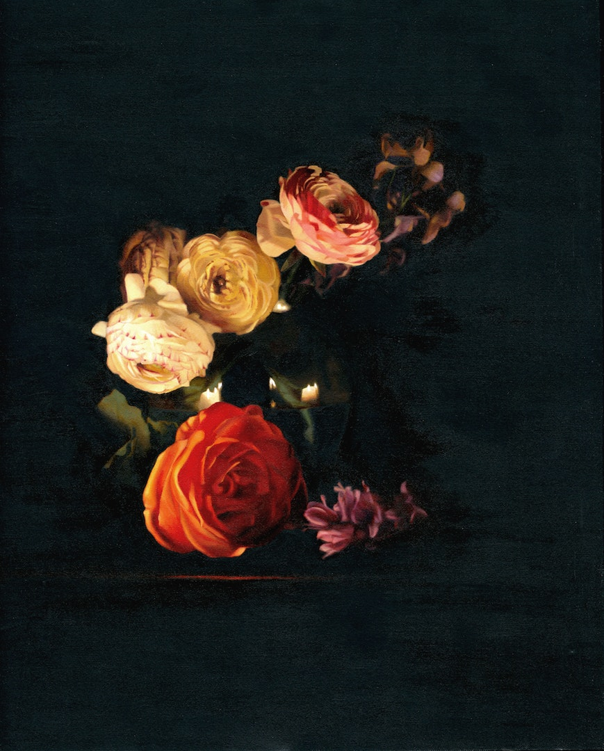 Chris Polunin  Flowers by Candlelight  Oil on canvas board, 40 x 50 cm  http://www.chrispolunin.com