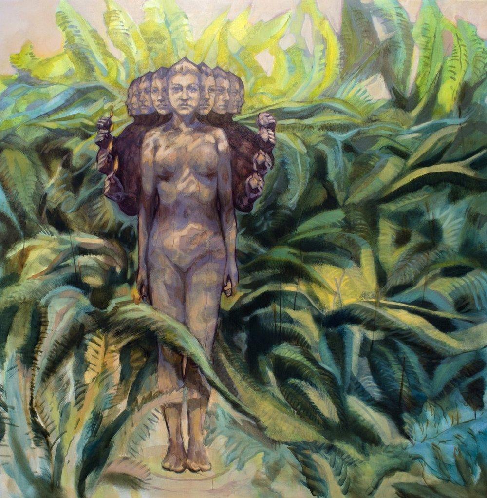 Daiana Lukacs  Fern Forest  Oil on canvas, 145 x 142 x 3 cm  http://dailukart.wixsite.com/dailukart
