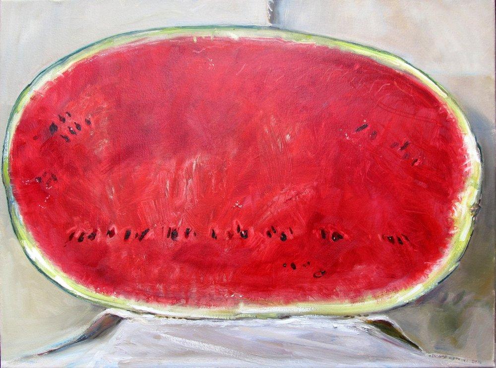 David Hopkins  Big Watermelon  Oil on canvas, 60.5 x 80 x 4 cm  http://www.davidhopkinspaintings.co.uk