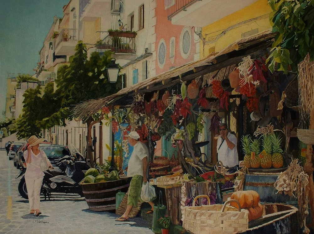 David Sutcliffe  Ischia town  Water mixable oil on canvas board, 60 x 80 cm