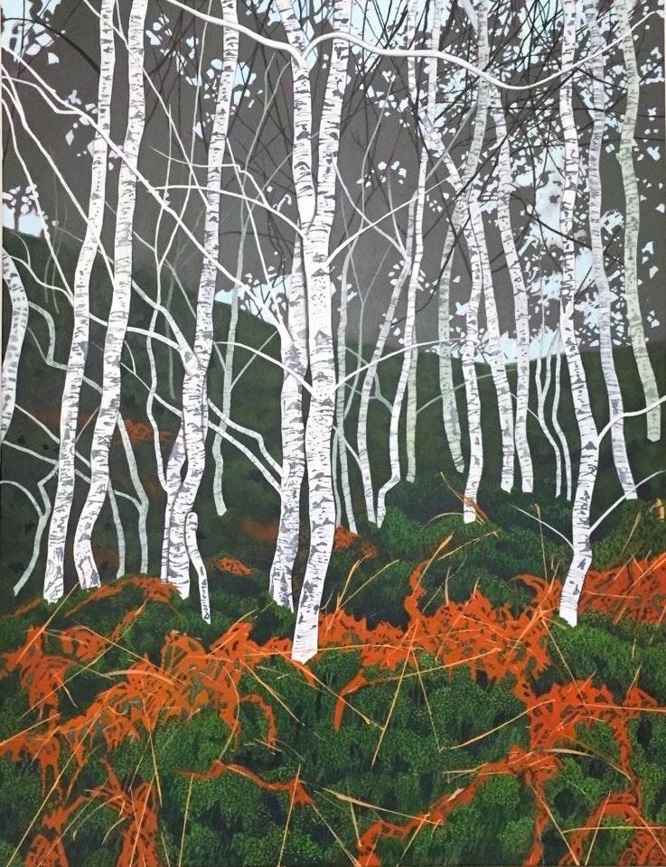 Diana Ferguson  Birches on Loch Katrine  Acrylic on canvas, 90.5 x 70 x 2 cm