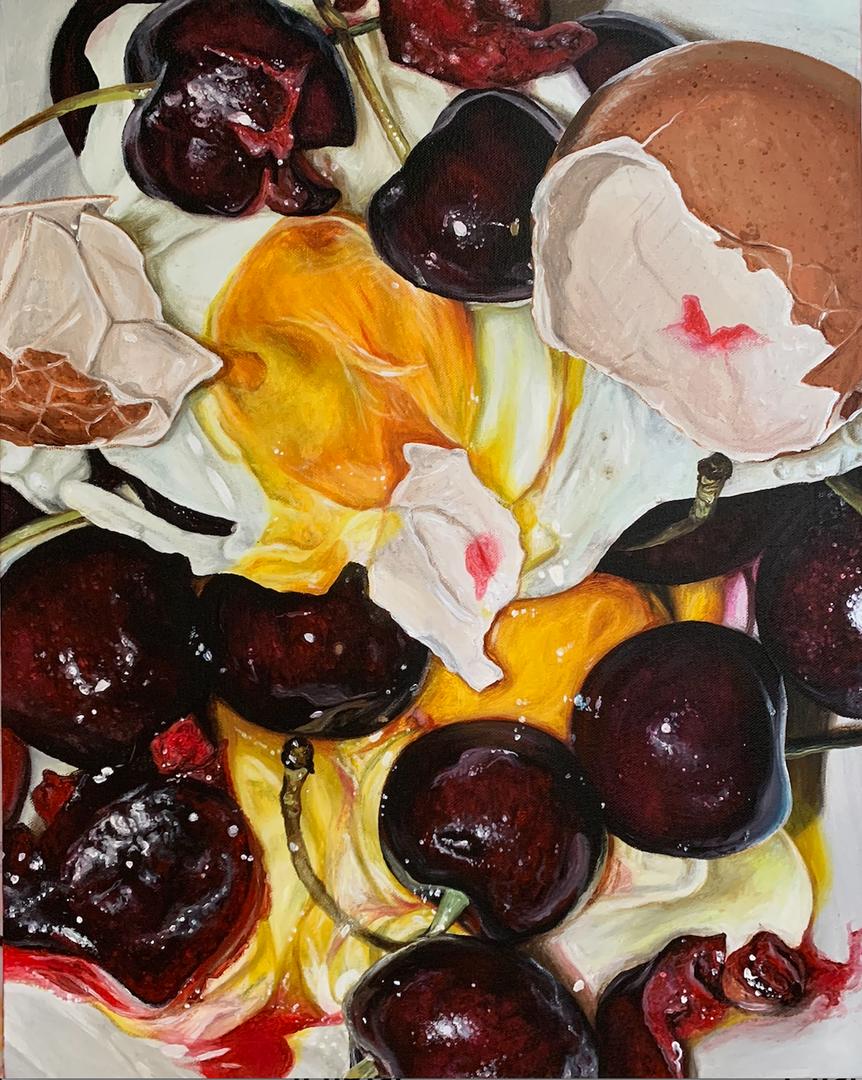 Emilia Symis  Nostalgia Part 2  Acrylic and cherry fragrance oil on canvas, 40 x 50 cm  http://www.instagram.com/emiliasymis_art