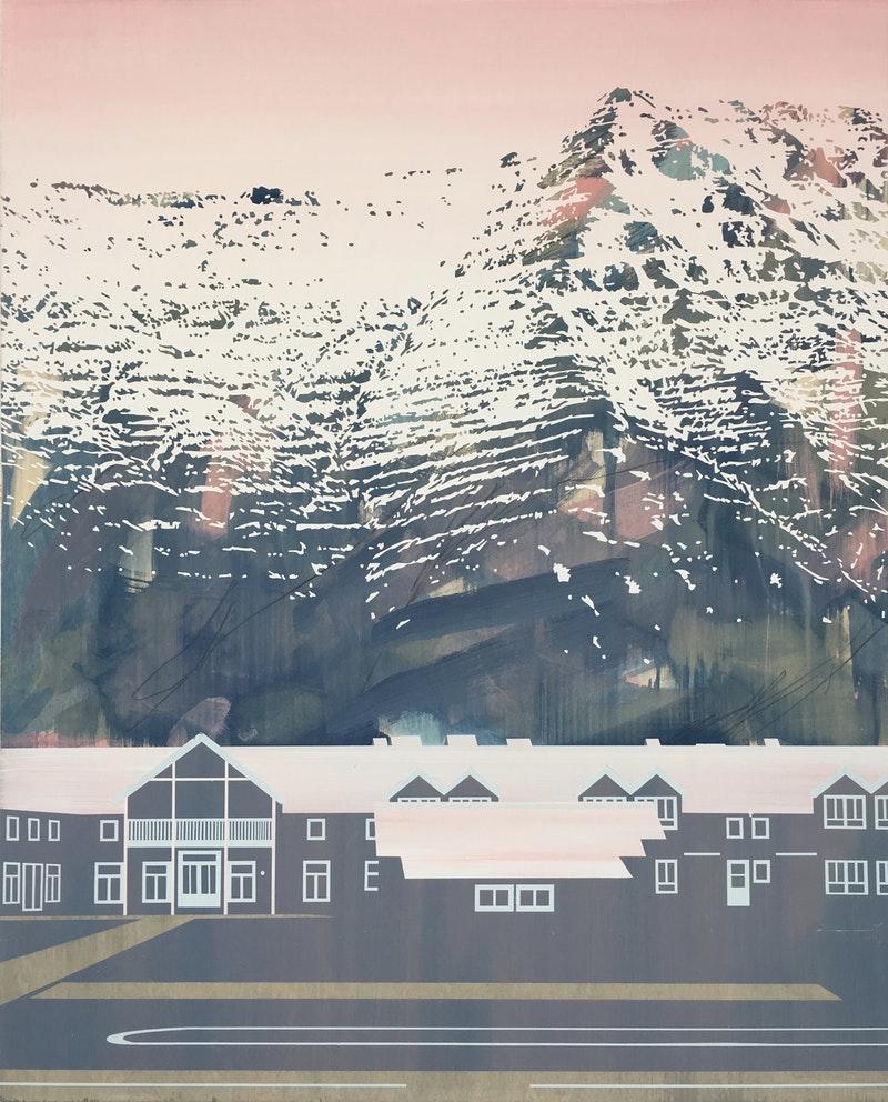 Emily Moore  Siglufjörður Glow  Acrylic, gesso, graphite on panel, 123 x 101 x 2 cm  http://www.emilymooreart.com