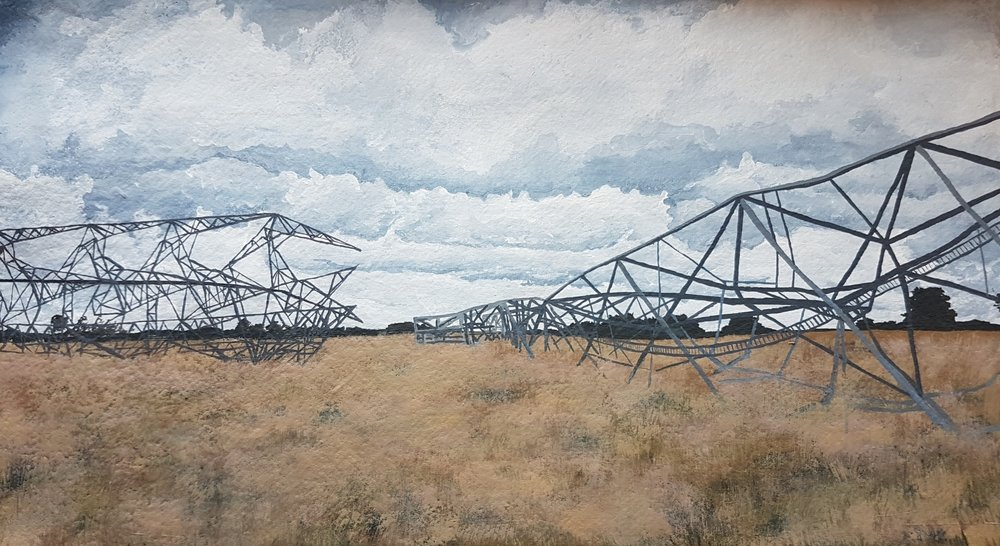 Esther Jeanes  Rampisham Downed  Acrylic on Paper, 41 x 58 cm  http://www.estherjeanes.com