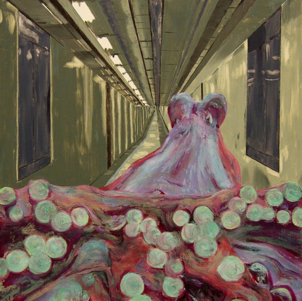 Fiona Long  Hey Sucker  Oil on board, 50 x 50 x 1 cm  https://www.facebook.com/fionalongartist/