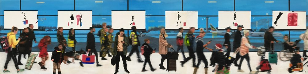 Frances Featherstone  The Art of Travel  Oil on Canvas, 30 x 120 x 4.5 cm  http://www.francesfeatherstone.co.uk
