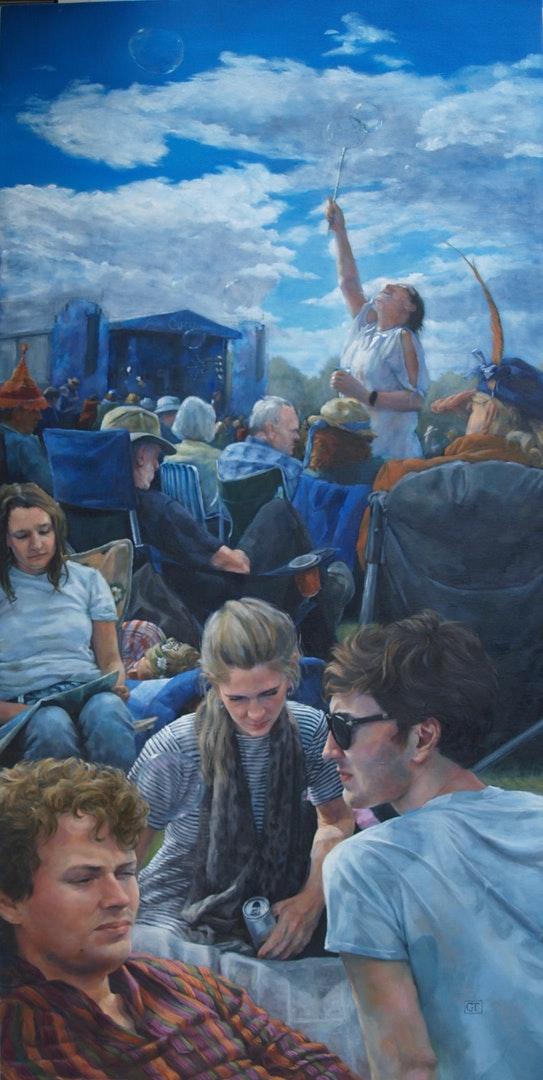 Gail Theis  Cropredy  Oil on Canvas, 152 x 72 x 3 cm  https://www.facebook.com/GailTheisArtist/?epa=SEARCH_BOX