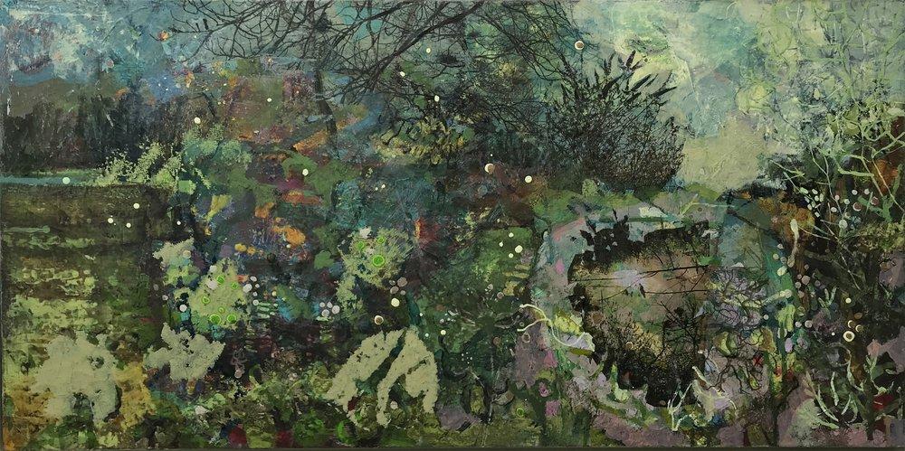 Frances Ryan  January Culvert  Oil and Collage on Canvas, 40 x 80 x 2 cm  http://www.francesryan.com