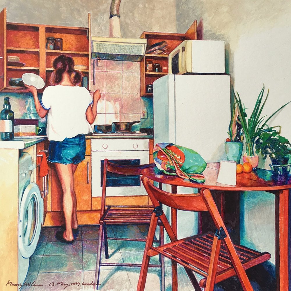 Hsi Chun Huang  Let Us Cook  watercolour, 21 x 21 cm   https://www.instagram.com/hsichunh/