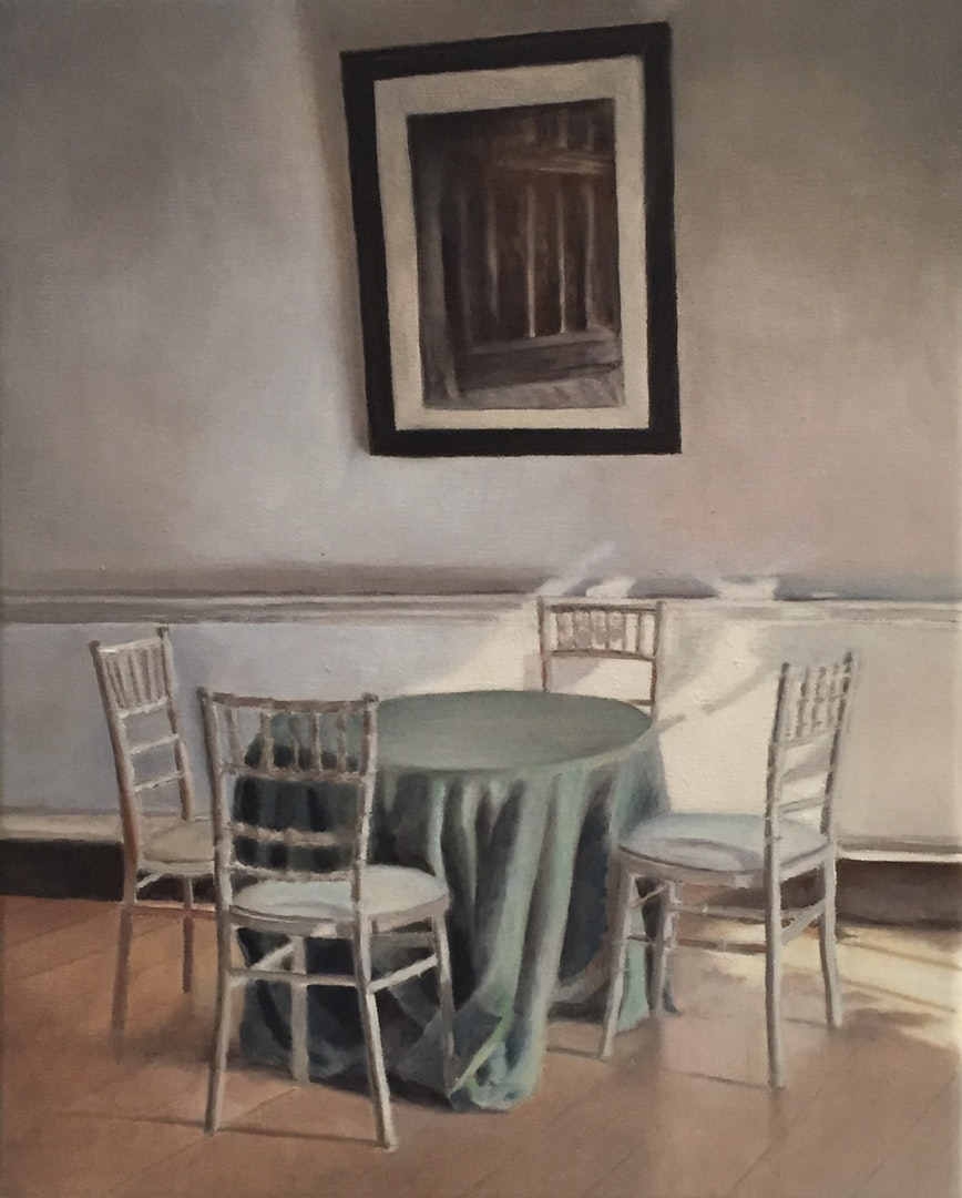 Jackie Naffah  Table for Four  Oil, 33 x 27 x 3 cm