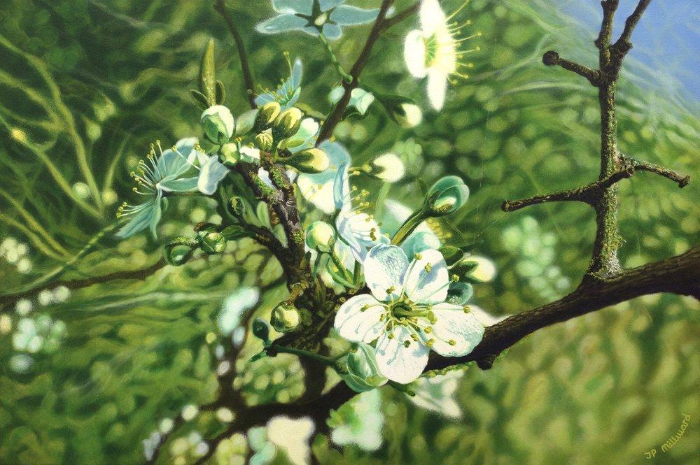 James Peter millward  Buds will burst  Golden open acrylics on stretched canvas, 90 x 60 cm  https://www.jamesmillward-artist.co.uk/